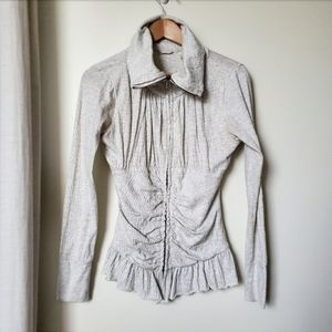 E by Anthropologie Ruched Zip Up Light Jacket